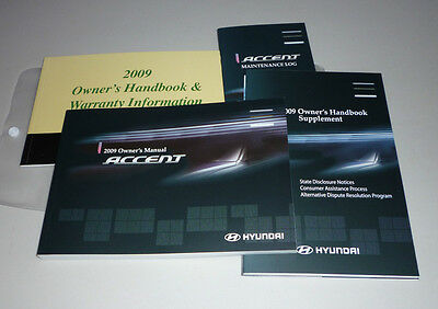 2009 Hyundai Accent Owners Manual Set 09 W/case