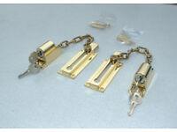 Lockable Brass Door Safety Chains x 7 - Joblot - Ideal for - Flats - Bedsits