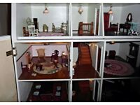 Dolls House 1/12 scale with lighting and furniture