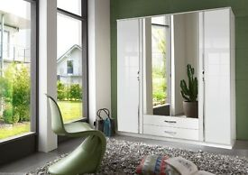 White High Gloss German Made Wardrobe 4 Doors with Mirror Doors (same day delivery)