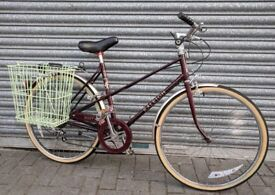 "Ladies Town Bicycle : Burgundy Raleigh 'Misty' : 1980's Retro Bike 18""."