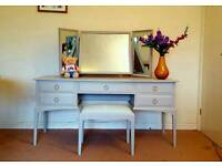 Stag dressing table with stool