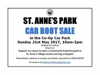 Come along to our car boot sale: Sun 21st May in Co-op car park, St Anne's Village Centre, BS4 4WW