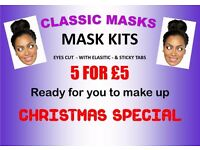 Personalised Face Mask KIT for 5 Masks, Eyes Cut Out, You cut out face and attach elastic on rear