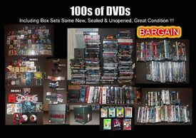 100s of DVDs, Box sets & Blu Rays (some new & unopened).