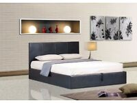WOW OFFER -- BRAND NEW DOUBLE LEATHER BED IN BLACK AND BROWN WITH MEMORY FOAM F MATTRESS