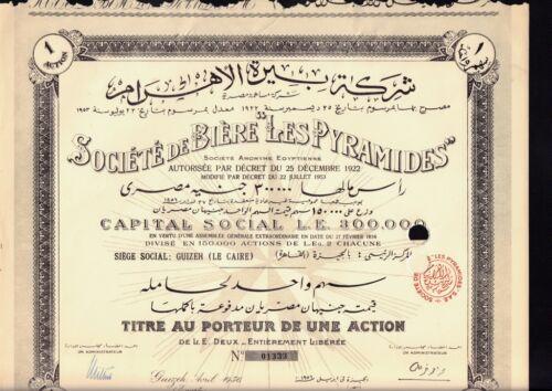 EGYPT BEER : Soc. de Biere Les Pyramids Gizeh dd 1956