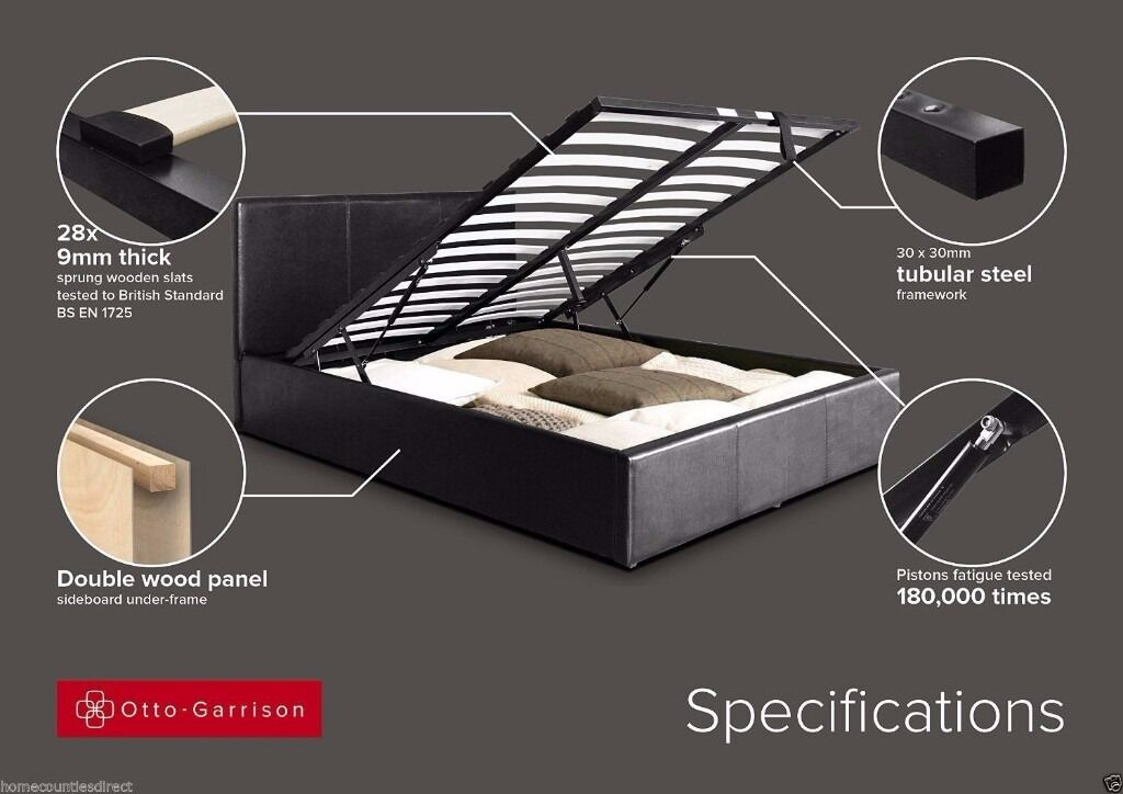 LIMITED OFFER - JUST £199 BRAND NEW DOUBLE LEATHER OTTOMAN STORAGE BED WITH MATTRESS
