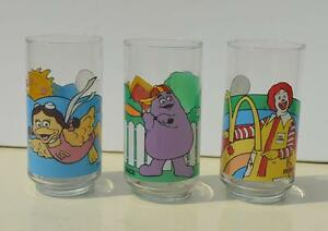 Set of 3 1980's vintage McDonald's Character Glasses