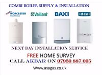 £399 combi boiler installation,NO HOT WATER,tanks,cylinders removed,heating,VAILLANT,WORCESTER,BAXI