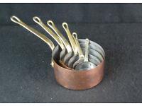 Vintage set 6 French Copper pans