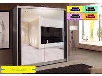 CHICAGO-2 Door Full Mirror WARDROBE- Width:250CM Colours: Black, White, Wenge, Walnut AND OAKSONOMA
