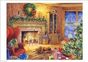 Adesivo finestra natale caminetto con albero e regali - Addobbi finestra natale ...