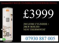 unvented hot water cylinder SUPPLY & FIT, BOILER INSTALLATION, back boiler removed, GAS SAFE HEATING