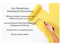 Jon Henderson. Internal and External Painting & Decorating, Wallpapering and Plastering. Service.