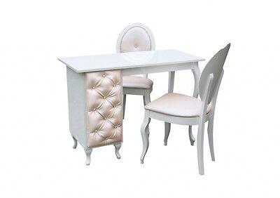 Garnitur Nageltisch,Maniküretisch mit Polsterung pearly+ zwei stühle Komplettset