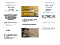 Introduction to Stone Carving 2-4 July Intermediate Stone Carving 30 July-1 August 2018