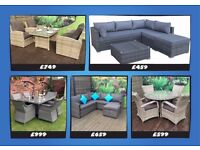 Garden Furniture, Shower proof, aluminium frame, ratan, corner & coffee table, day bed! From £459.
