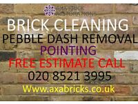 PEBBLE DASH REMOVAL,Brick pointing,damaged bricks replaced,paint removed,stone repair,render removed