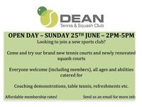 Dean tennis and squash club open day - Sunday 25th June 2pm-5pm