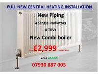 FULL GAS CENTRAL HEATING INSTALLATION,new pipes,boiler & radiators,FREE ESTIMATE,BOILER INSTALLATION