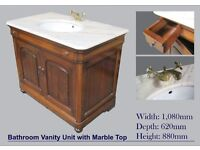 Mahogany Bathroom Vanity Unit with Marble Top