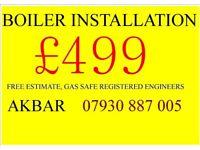 BOILER installation,MEGAFLO, back boiler removed, UNVENTED CYLINDER, gas safe heating VAILLANT BAXI