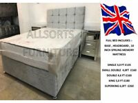 double silver crushed velvet divan set with a luxury sprung memory mattress