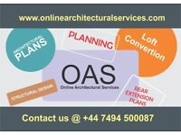 Architectural services/drawings/planning applications/loft/extensions/engineer/construction/builders