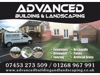 ADVANCED BUILDING AND LANDSCAPING. builder, patio, driveway, brick walls, artificial grass, paving