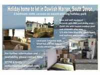 STATIC HOLIDAY HOME TO LET IN DAWLISH WARREN DEVON 2018 SEASON
