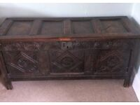 Beautiful Charles 11 17th Century carved oak chest/coffer
