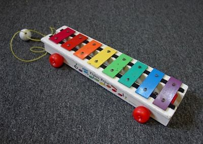 Fisher Price Xylophone Pull Toy 1964-1978 #870 Musical PreSchool Vintage Rainbow