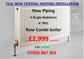 FULL GAS SAFE CENTRAL HEATING INSTALLATION BOILER+RADIATORS+PIPING+ CERTIFICATE SUPPLY +FIT