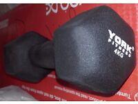 York Fitness Neoprene Hex Dumbbell 4kg x 2