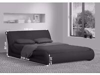 """Modern Black 4FT6"""" Double Leather Bed Frame Bedroom Furniture"""