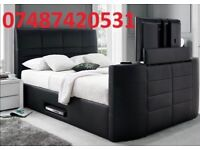 DOUBLE LEATHER STORAGE TV BED FRAME £299 - SALE