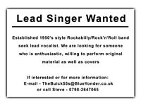 Singer wanted for Rockabilly / Rock 'n' Roll band