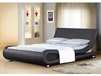 **MONEY BACK GUARANTEE** Mallorca Leather Bed Frame In Double Or King Size Black Or White