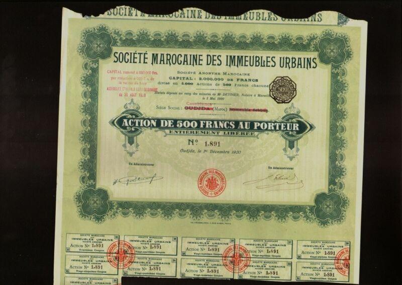 AFRICA MOROCCO  REAL ESTATE :Marocaine des Immeubles Urbains Casablanca 1920