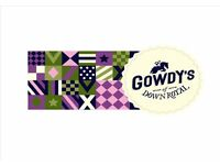 F/T F&B SUPERVISOR & kITCHEN PORTER Req`d for Gowdys of Down Royal