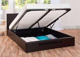 COLOURS OPTION AVAILABLE *** DOUBLE OTTOMAN STORAGE BED FRAME ( BLACK,BROWN & WHITE )