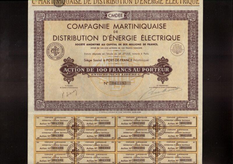 MARTINIQUE ELECTRICITY : Comp. Martiniquaise  Distribution d
