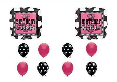 BIRTHDAY GIRL BALLOONS ROCK STAR POLKA DOTS PARTY PINK