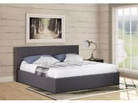 """Ottoman Gaslift Storage Grey Fabric 4FT 6"""" Double Bed Frame Bedroom Furniture"""