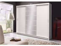 Brand New German 2-3 Door Sliding Mirror Wardrobes with Shelves, Hanging Rails Cupboard MANY COLOR