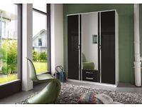 FREE DELIVERY!HIGH GLOSS GERMAN TRIO 3 DOOR & 4 DOOR WARDROBE AVAILABLE IN BLACK AND WHITE COLOUR