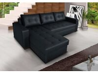 **7-DAY MONEY BACK GUARANTEE!** Onix Bonded Leather Corner Sofa and Sofabed with Storage- SAME DAY!