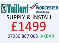 £1499 WORCESTER or VAILLANT BOILER SUPPLY & INSTALLATION, MEGAFLO, gas safe heating & plumbing