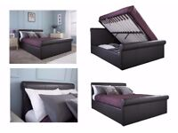 BED FRAME-DOUBLE SIZE-STORAGE-FAUX LEATHER